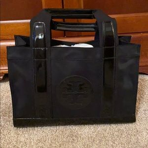 Tory Burch nylon and patent tote